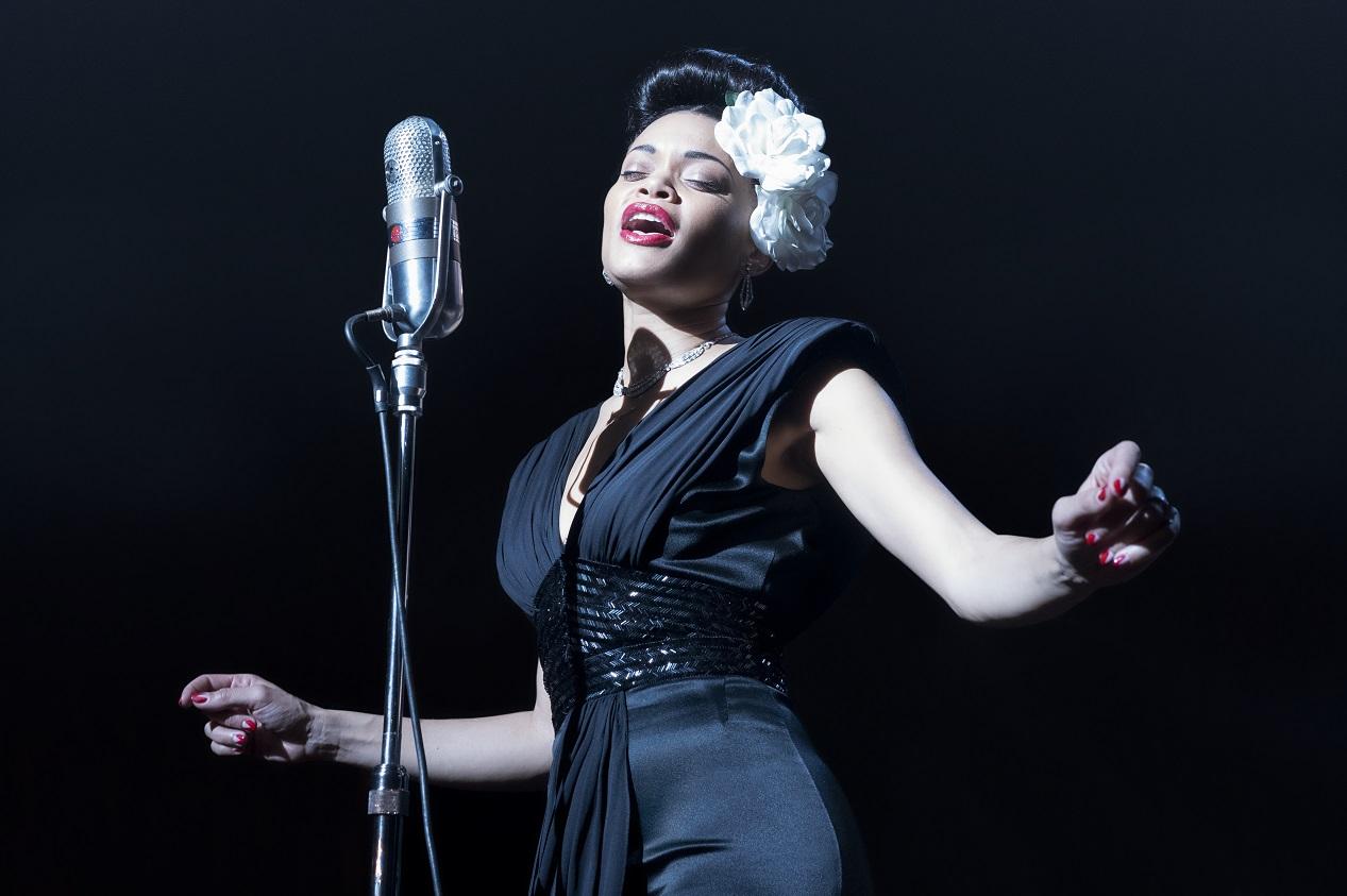 L'actrice américaine Andra Day photographié sur le tournage du film Billie Holiday